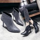 歐洲站2019秋冬新款短靴灰色深口單鞋黑色女高跟鞋尖頭裸靴及女靴 DR30430【男人與流行】