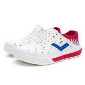 PONY 世界國旗 男女款紅藍白三色洞洞水鞋-NO.02U1SA04RB