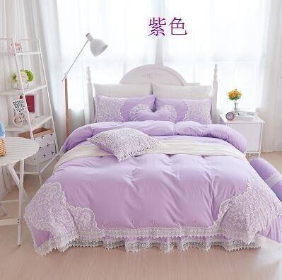 幸福居*韓式公主風小清新純色純棉花邊蕾絲床裙四件套全棉雙人(床裙組四件套2M-6.6英尺)