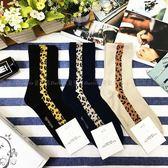 【KP】韓國 22-26cm 直線 豹紋 潮流時尚 黑 藍 淺棕 成人襪 直版襪 襪子 DTT100007741