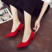 伴娘鞋 婚鞋女紅色高跟鞋細跟紅鞋新娘鞋中式尖頭貓跟鞋伴娘中跟結婚鞋子【韓國時尚週】