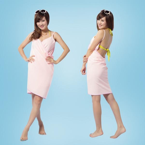 BO雜貨【SV2416】細肩薄款 超細纖維強力吸水浴巾浴袍 防曬裙海灘巾沙灘裙 露背比基尼罩衫