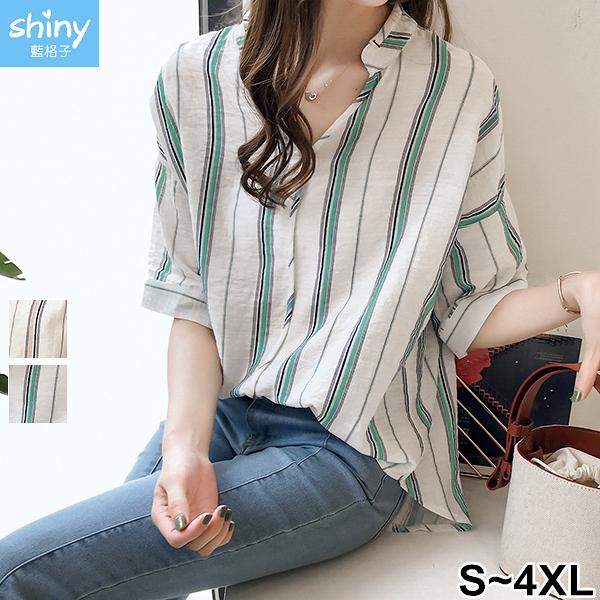 【V2908】shiny藍格子-知性品味.直條紋V領五分袖襯衫上衣