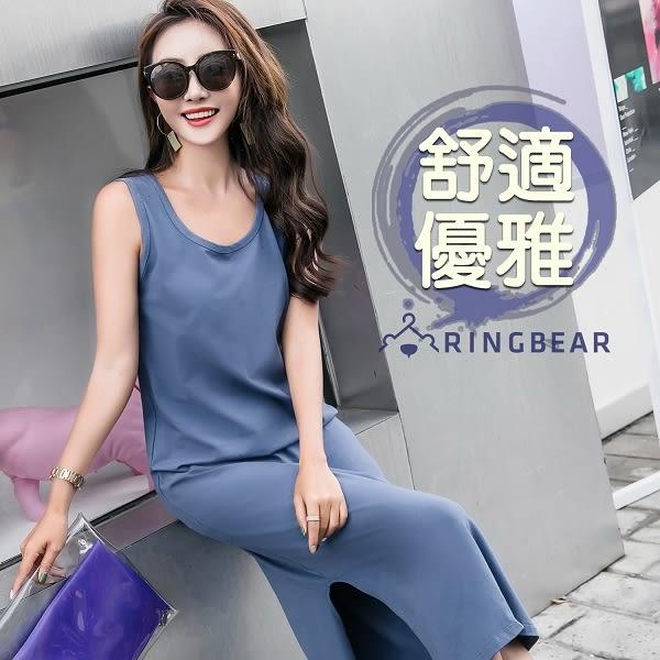 背心裙--舒適修身寬肩帶素面U領無袖長版洋裝/背心裙(黑.灰.藍M-4L)-D511眼圈熊中大尺碼