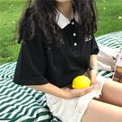 Polo衫 夏季學院風polo撞色領基礎款字母印花短袖T恤衫女學生寬鬆上衣潮【快速出貨八折優惠】
