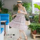 東京著衣-印花百褶細肩帶洋裝-XS.S.M(6011484)