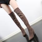 長靴 2020新款秋冬季長靴女過膝彈力靴高跟長筒靴尖頭粗跟瘦瘦高筒棉靴