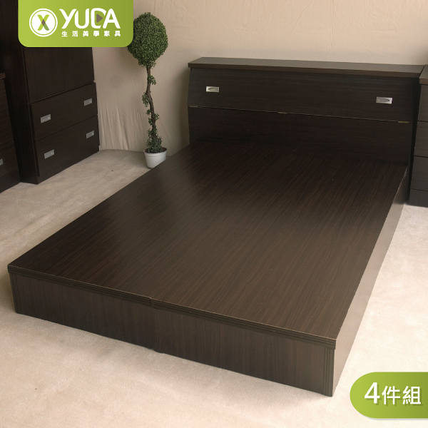 【YUDA】房間組四件組 床架組 雙人5尺 (床頭箱+床底+床頭櫃+衣櫃) 新竹以北免運費