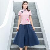 短袖裙裝 中國風棉麻改良茶服文藝復古民族風刺繡T恤 半身裙套裝