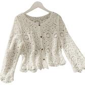 長袖罩衫-蕾絲薄款寬鬆勾花鏤空女外套2色74ab24[時尚巴黎]