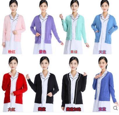 護士毛衣加絨加厚藏藍色女秋冬季針織毛衫醫生外套【加絨款】