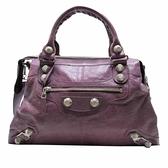 BALENCIAGA 巴黎世家 紫色山羊皮大銀扣手提肩背包 246444 【二手名牌BRAND OFF】