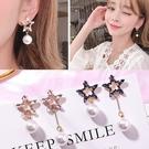 【NiNi Me】韓系耳環 925銀針氣質優雅星星水鑽珍珠耳針 耳環 N0347