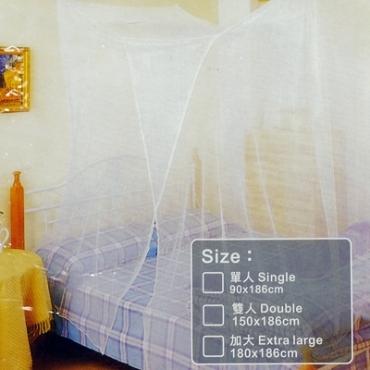 便利防蚊四方型蚊帳雙人白