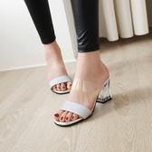 大尺碼女鞋34~48 時尚百搭一字帶高跟涼鞋~4色