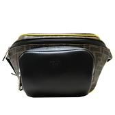 FENDI 棕色LOGO緹花防水塗層帆布拚牛皮腰包 Belt Bag 7VA446 【二手名牌BRAND OFF】