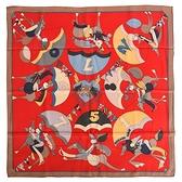 HERMES Un Amour de Cheval契瓦爾的愛真絲方形絲巾70cm(紅色)370049
