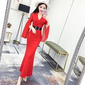 秋裝女新款韓版氣質V領開叉長袖洋裝修身包臀魚尾禮服長裙 草莓妞妞