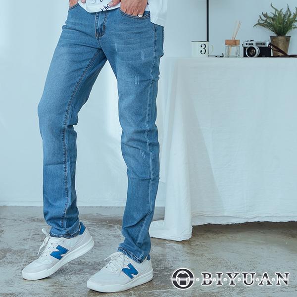 出清不退換【OBIYUAN】韓版牛仔褲 長褲 刷色 抓痕 丹寧彈性 休閒褲 【SP2200】
