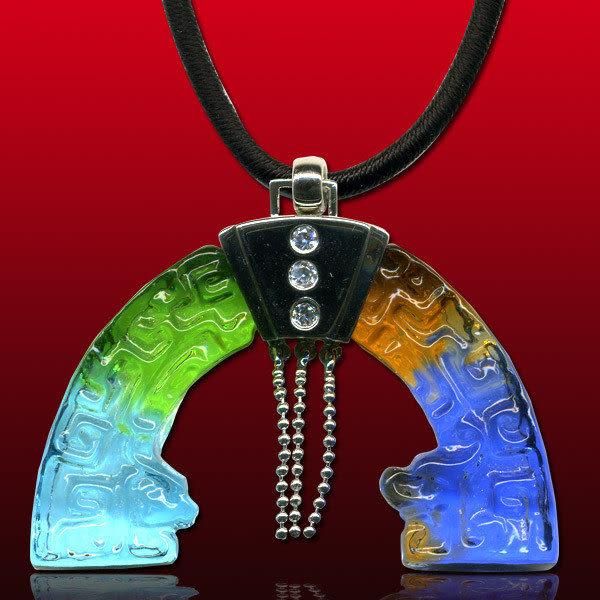 鹿港窯~開運古法水晶琉璃銀飾項鍊~雙龍璧 附精美包裝◆免運費送到家