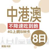 中港澳上網卡 8日 不限流量不降速 4G上網 吃到飽上網SIM卡