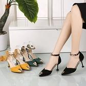 韓版2019春新款貓跟中空尖頭鞋一字扣帶高跟鞋細跟包頭涼鞋女中跟