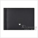 MONT BLANC EXTREME2.0六角星LOGO碳纖維圖案牛皮6卡鈔票夾短夾(黑)