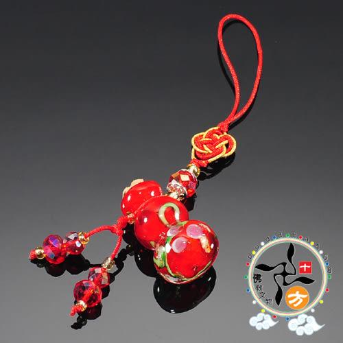 葫蘆寶瓶紅琉璃掛飾 【十方佛教文物】