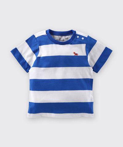 Hallmark Babies 男童小馬藍白間條條紋短袖上衣 HD1-R13-01-KB-PB