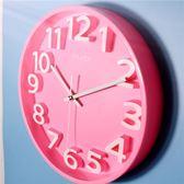 超靜音現代簡約立體數字客廳臥室裝飾壁掛時鐘錶石英鐘    韓小姐