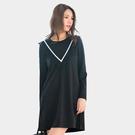 黑色洋裝--優雅V型撞色織帶拼接雪紡荷葉...