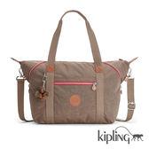 Kipling 復古卡其棕素面手提側背包-大-ART