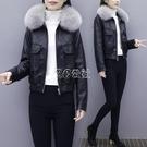 加棉加厚皮衣外套女裝韓版短款大毛領機車服加棉黑色皮夾克快速出貨