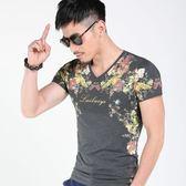 短袖男T恤 潮流上衣 韓版休閒 中國風短袖T恤修身款體恤男潮流百花印花圓領wx3453