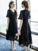 大尺碼洋裝 奢姿女裝遮肚蕾絲連身裙裝新款寬松v領中長款裙子 轉角1號