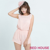 RED HOUSE-蕾赫斯-蕾絲露背連身褲(粉色)