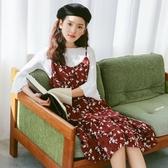 吊帶裙-碎花清新優雅中長款荷葉邊女背帶裙2色73rx15【巴黎精品】