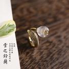 古典優美設計感白水晶花朵純銀戒指可微調/設計家