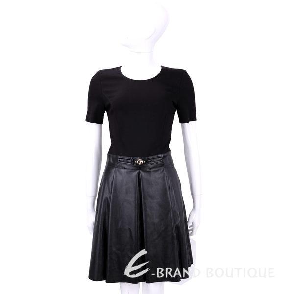 VERSACE 黑色拼接皮裙短袖洋裝 1540281-01