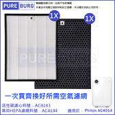 現貨-適用PHILIPS飛利浦AC4014智慧防護空氣清淨機濾網組HEPA+活性碳濾心(AC4143 + AC4144)