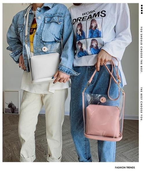 斜背果凍包北包包新款百搭時尚斜背包包質感洋氣水桶包果凍透明包女包潮可卡衣櫃