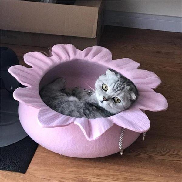 貓窩四季通用貓床墊毛氈房子可愛公主花寵物窩網紅貓咪窩別墅夏季
