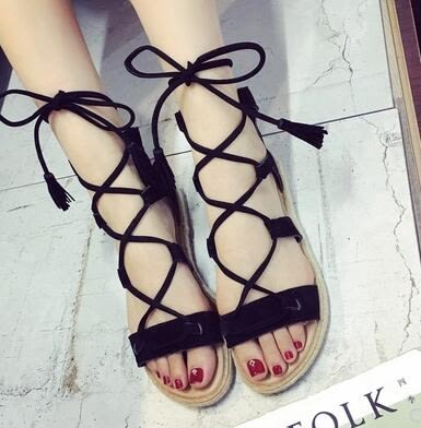 韓版女夏季羅馬涼鞋露趾 平底麻繩系帶細帶流蘇綁帶涼鞋「時尚彩虹屋」