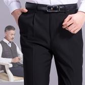 西裝褲 中年西褲男寬鬆男士高腰中老年加絨爸爸褲子秋冬厚款大碼褶西裝褲-快速出貨