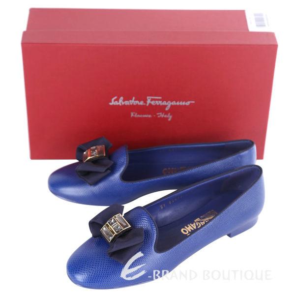 Salvatore Ferragamo Gessy 蝴蝶結鑽飾壓紋平底鞋(藍色) 1620690-23