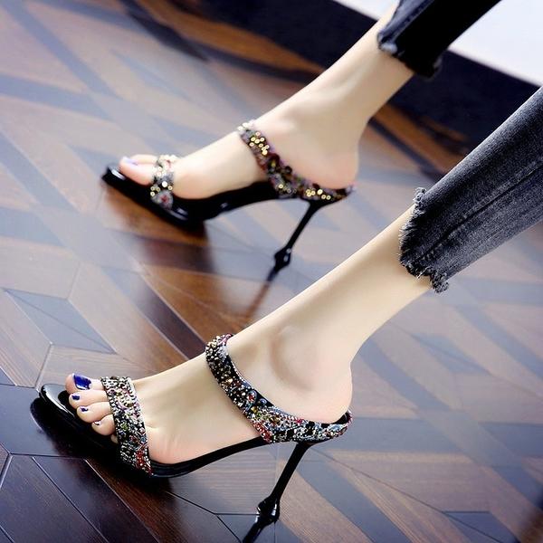高跟拖鞋 拖鞋女性感水鉆一字半拖2021年夏季新款時尚百搭露趾細跟高跟涼鞋