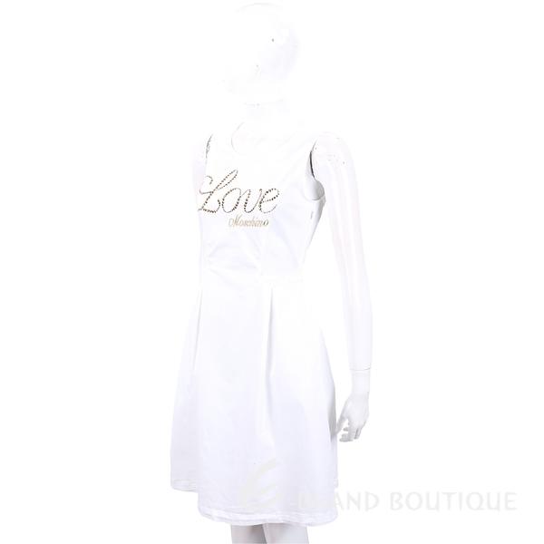 LOVE MOSCHINO 貼飾刺繡草寫字母白色背心洋裝 1820547-20