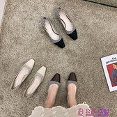 單鞋春款百搭網紅時尚休閑方頭格子淺口套腳粗跟防滑工作鞋潮超級品牌【公主日記】