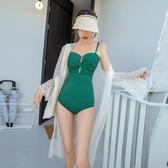 新款泳衣女連體三角罩衫溫泉
