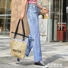 寬管牛仔褲子女九分淺色小雛菊花寬鬆夏季薄款冰絲高腰垂感軟直筒 果果輕時尚